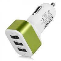 Автомобильный адаптер питания от прикуривателя CAR USB пластик, белый, 3 USB (2,1A / 2A / 1А), 12В / 24В