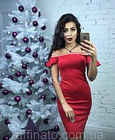 Платье женское красивое красное декорировано камнями