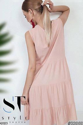 Летнее платье без рукав свободного кроя лен однотонное цвет пудра, фото 2