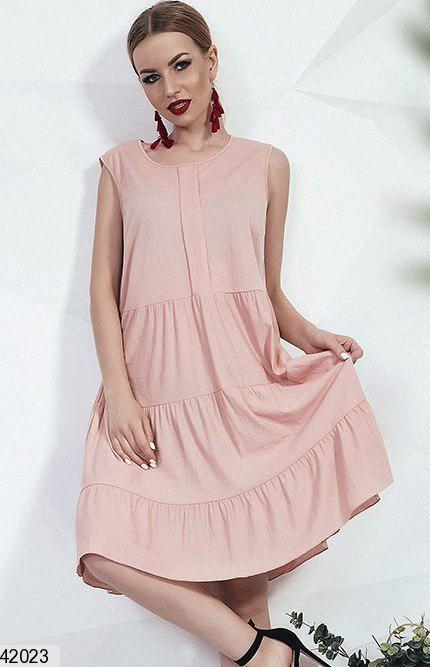 Летнее платье без рукав свободного кроя лен однотонное цвет пудра