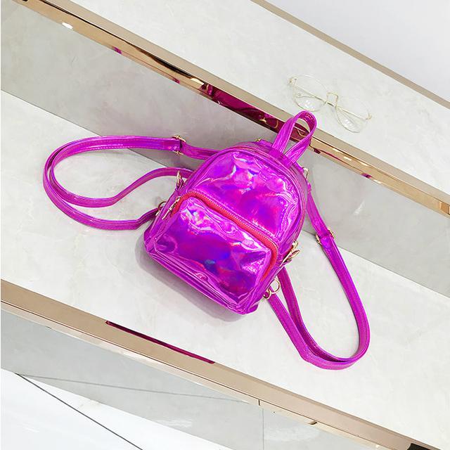 Голографический мини рюкзачок розовый