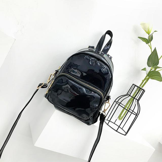 Голографический мини рюкзачок черный