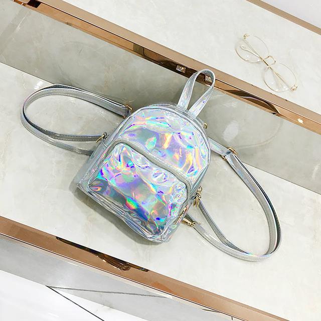 Голографический мини рюкзачок серебро
