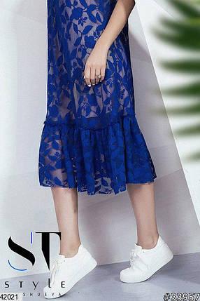 Летнее платье миди кружевное с подкладкой короткий рукав свободное электрик, фото 2