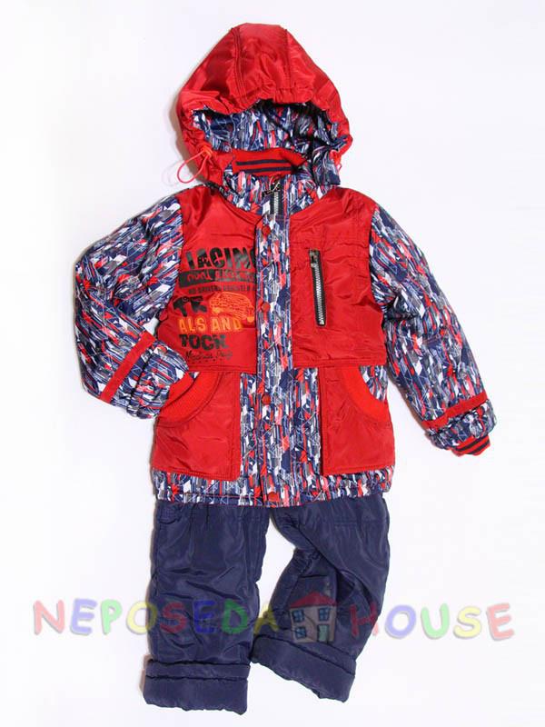 Детский комбинезон весна-осень для мальчика от 1,5 до 4-х лет на флисе красный