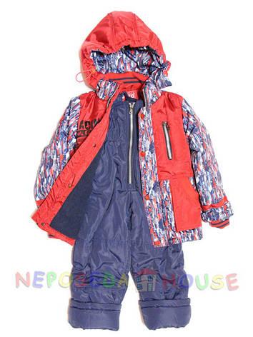 Детский комбинезон весна-осень для мальчика от 1,5 до 4-х лет на флисе красный, фото 2