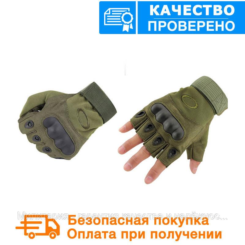 Тактические перчатки Oakley (Беспалый). - Khaki  (oakley-olive)
