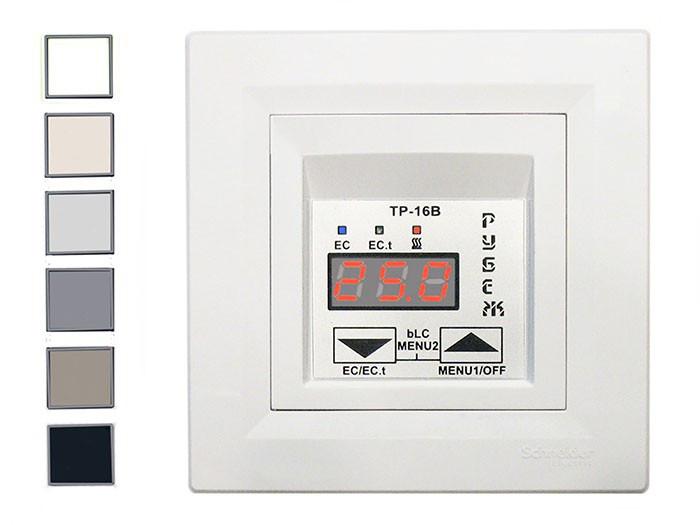 Терморегулятор, термостат для теплого пола цифровой РУБЕЖ ТР-16ВУм Schneider (белый и бежевый)