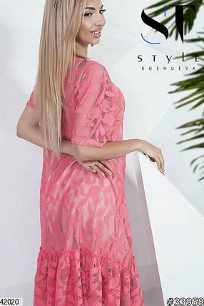 Нарядное платье средней длины короткий рукав гипюровое с рюшами коралловое, фото 2