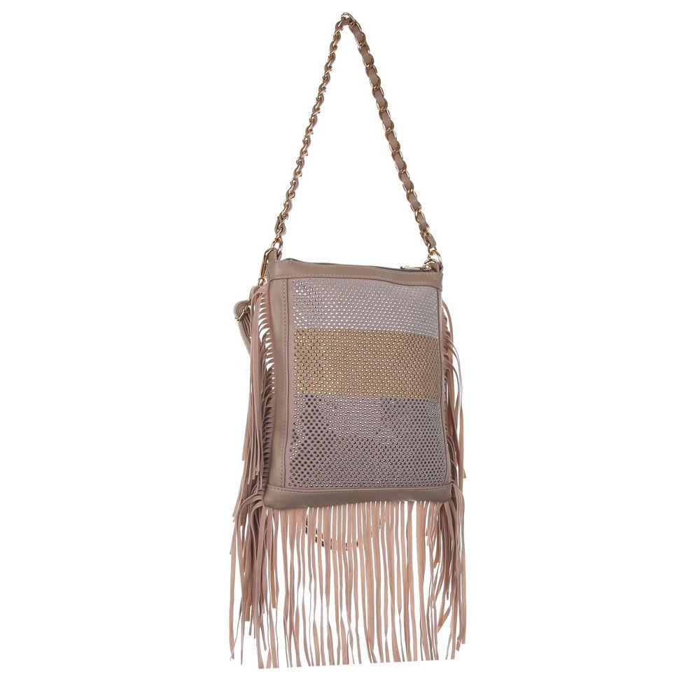 Женская наплечная сумка с бахромой и стразами (Европа) Бежевый