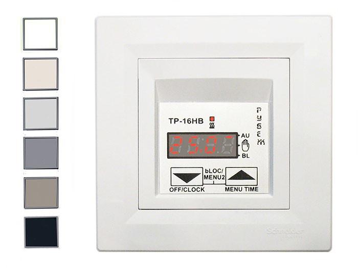 Терморегулятор, термостат для теплого пола цифровой РУБЕЖ ТР-16НВ Schneider (белый и бежевый)