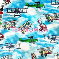 Трикотажное полотно интерлок хлопок пенье 30/1 набивка, детский рисунок ретро самолеты