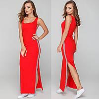 """Красное платье-сарафан в пол с лампасами """"Техно"""", фото 1"""