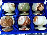 Коньячный набор из натурального оникса в бархатной коробке