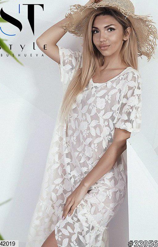 Красивое платье до колен с коротким рукавом свободного кроя кружевное молоко