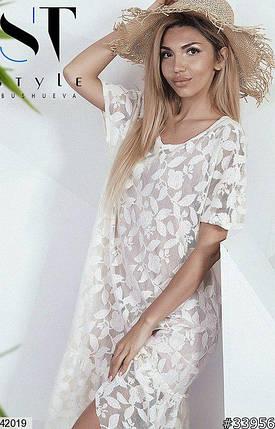 Красивое платье до колен с коротким рукавом свободного кроя кружевное молоко, фото 2