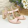 Женские кожаные классические босоножки на устойчивом каблуке, цвет пудра, фото 4