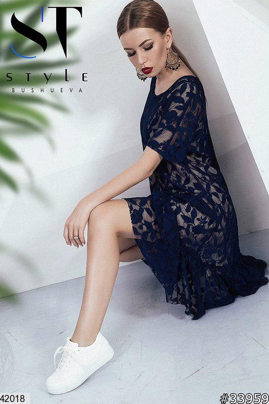 Летнее платье миди с коротким рукавом гипюр и подкладка широкое синее