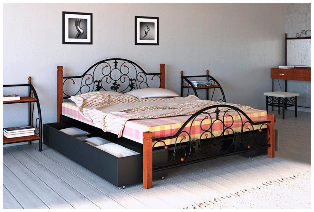 Кровать Жозефина черная 180*200 с двумя ящиками деревянные ножки (Металл дизайн)