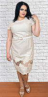 Летнее льняное платье с вышивкой, полу-приталенного силуэта. Размеры: 50-60