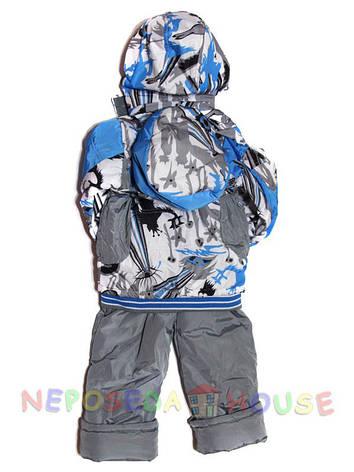 Дитячий комбінезон весна-осінь для хлопчика від 3 до 5 років на флісі з рюкзачком блакитний, фото 2
