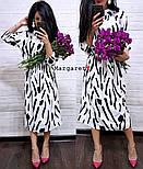Женское красивое бело-черное платье-миди , фото 3