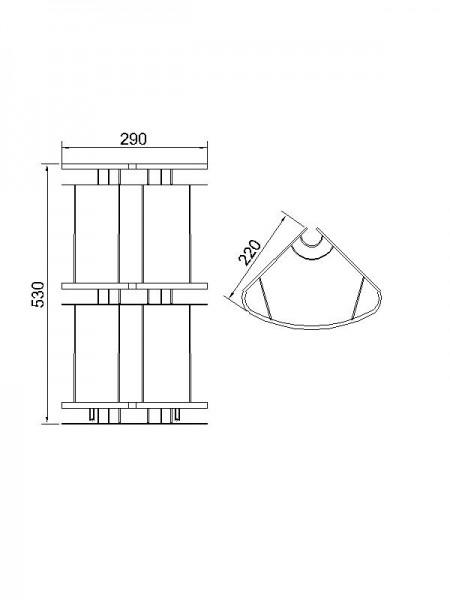 Полочка для ванной угловая из латуни тройная с тонированным стеклом 22x22 см