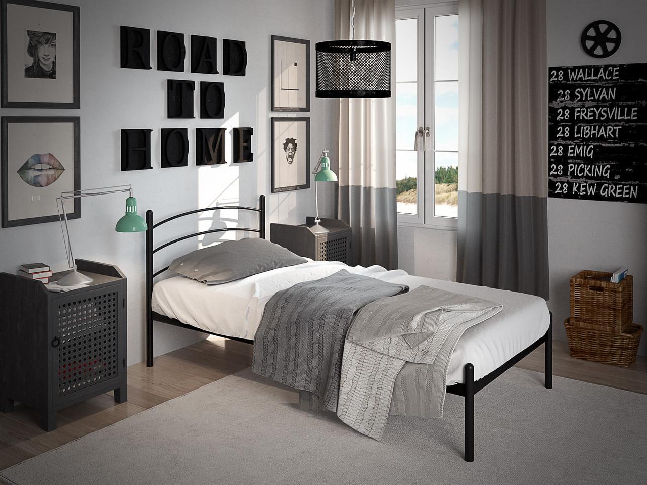 Кровать Маранта Мини Черный Бархат 90*190 (Tenero TM)