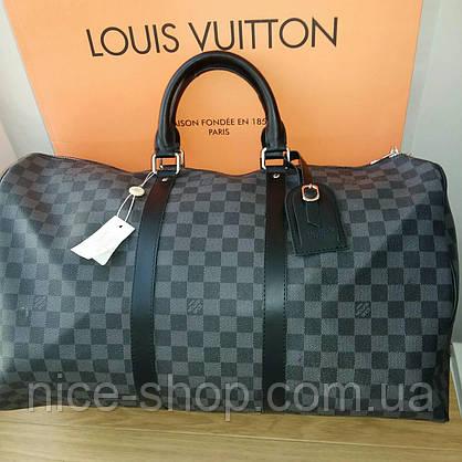 Сумка Louis Vuitton Keppall, 55 см, серая шахматка, Люкс, фурнитура серебро, фото 2