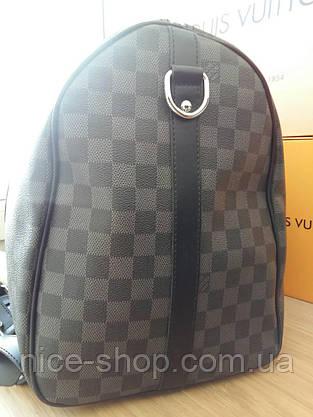 Сумка Louis Vuitton Keppall, 55 см, серая шахматка, Люкс, фурнитура серебро, фото 3
