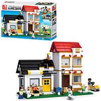 Конструктор SLUBAN M38-B0573 дім, газонокосарка, фігурки, 431 деталі, в коробці, 40,5-33-6,5 см, фото 1