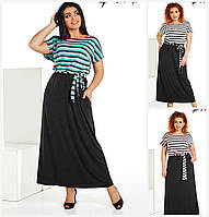 Довге плаття з кишенями верх смужка Батал до 56р 16339, фото 1