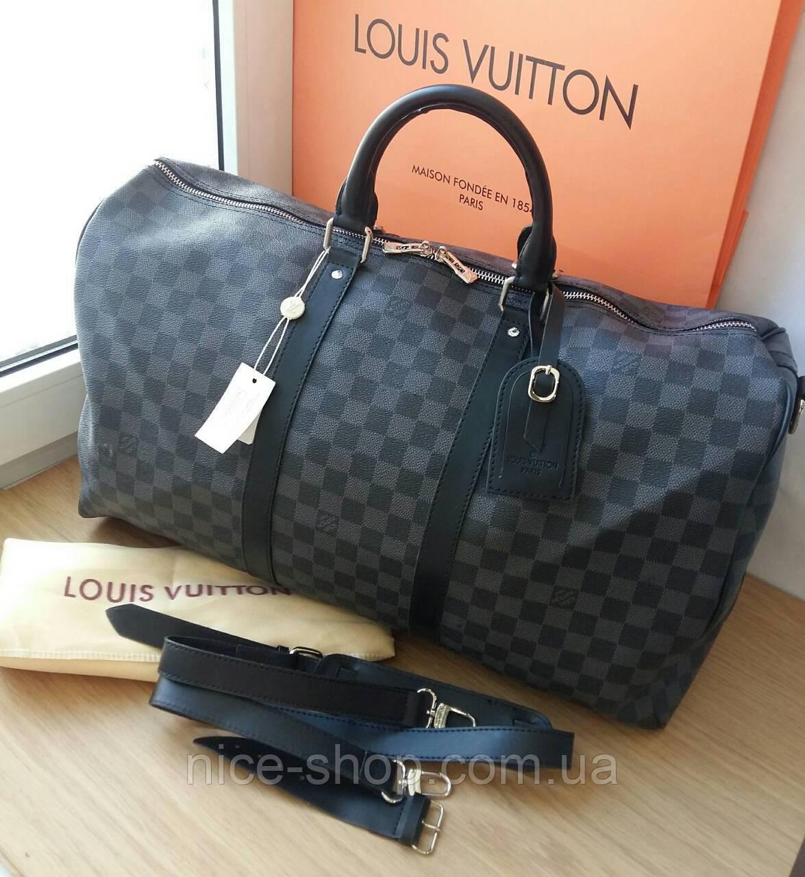 Сумка Louis Vuitton Keppall, 55 см, серая шахматка, Люкс, фурнитура серебро