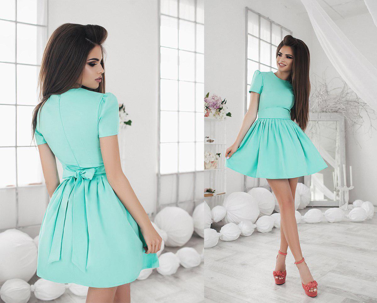 Платье короткое, летнее с пышной юбкой, два цвета, р.42,44,46, код 1050Т