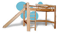 Деревянная детская кровать с горкой Пеппи