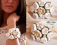 """Свадебный браслет для невесты """"Пиончики айвори"""", фото 1"""