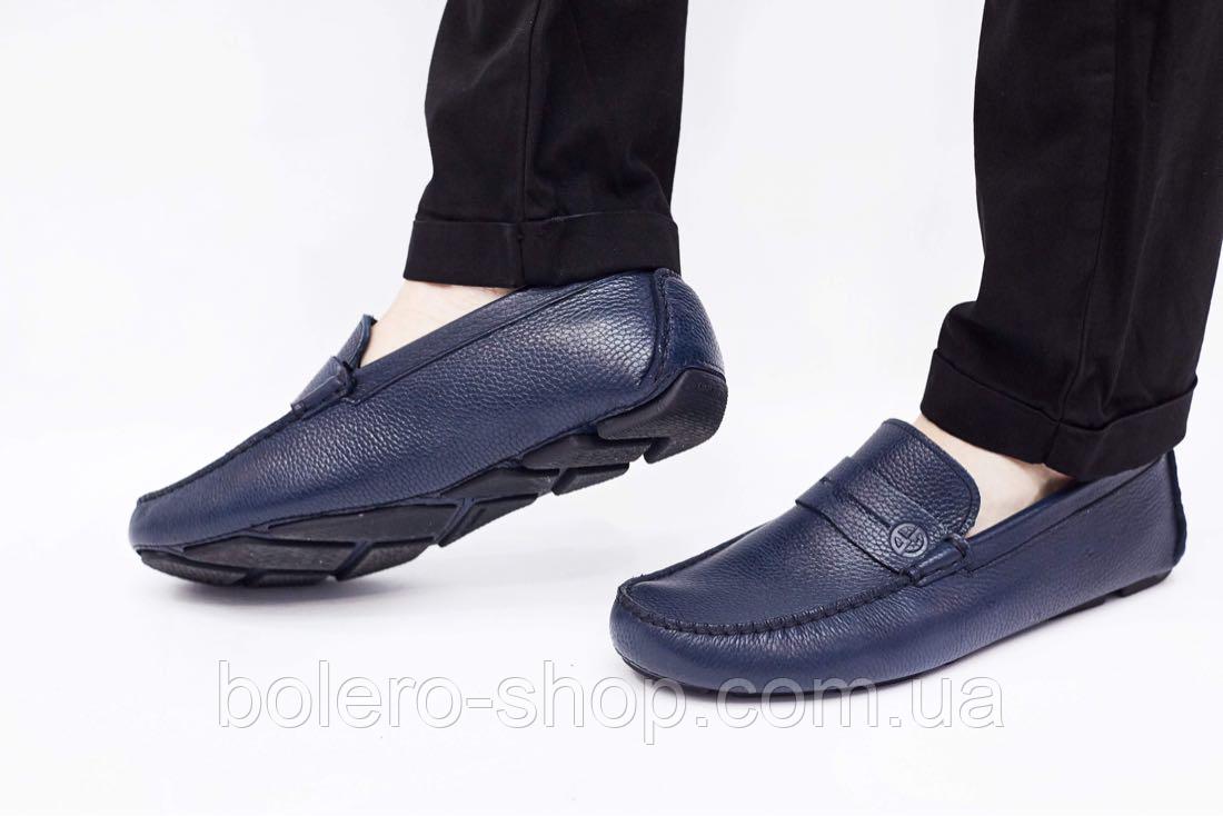 Мужские мокасины  Armani мужские туфли кожаные черные