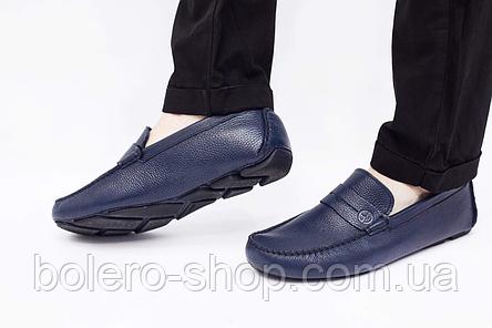 Мужские мокасины  Armani мужские туфли кожаные черные, фото 2