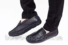 Мужские мокасины  Armani мужские туфли кожаные черные, фото 3