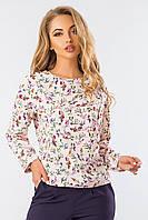 Блузка женская бежевая мелкие цветочки