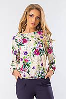 Бежевая блузка свободная фиолетовые цветы