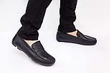 Мужские мокасины  Armani мужские туфли кожаные черные, фото 4