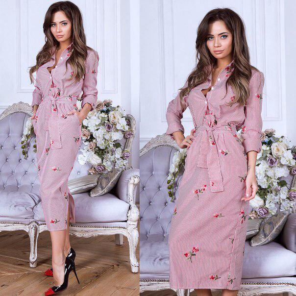 Летнее длинное платье-рубашка