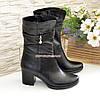 Ботинки женские кожаные   на устойчивом каблуке, фото 4