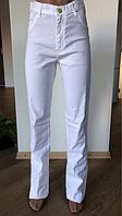 Джинсы женские белые льняные, джинсы белые женские, джинсы прямые, ровные, летние, высокая посадка