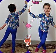Подростковая рубашка с цветочным принтом. (разные цвета) 140-146 см, фото 1