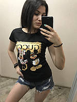 Женская стильная летняя футболка Gucci-микки, фото 1