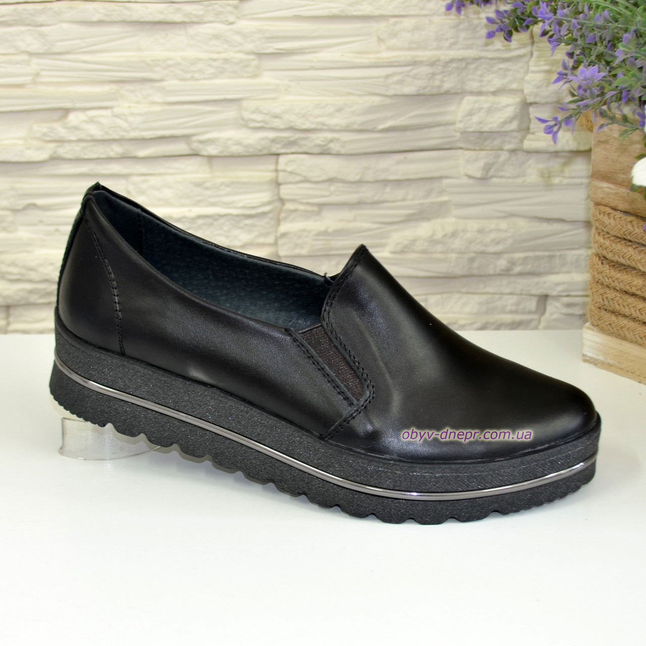Туфли кожаные женские на утолщенной подошве, цвет черный