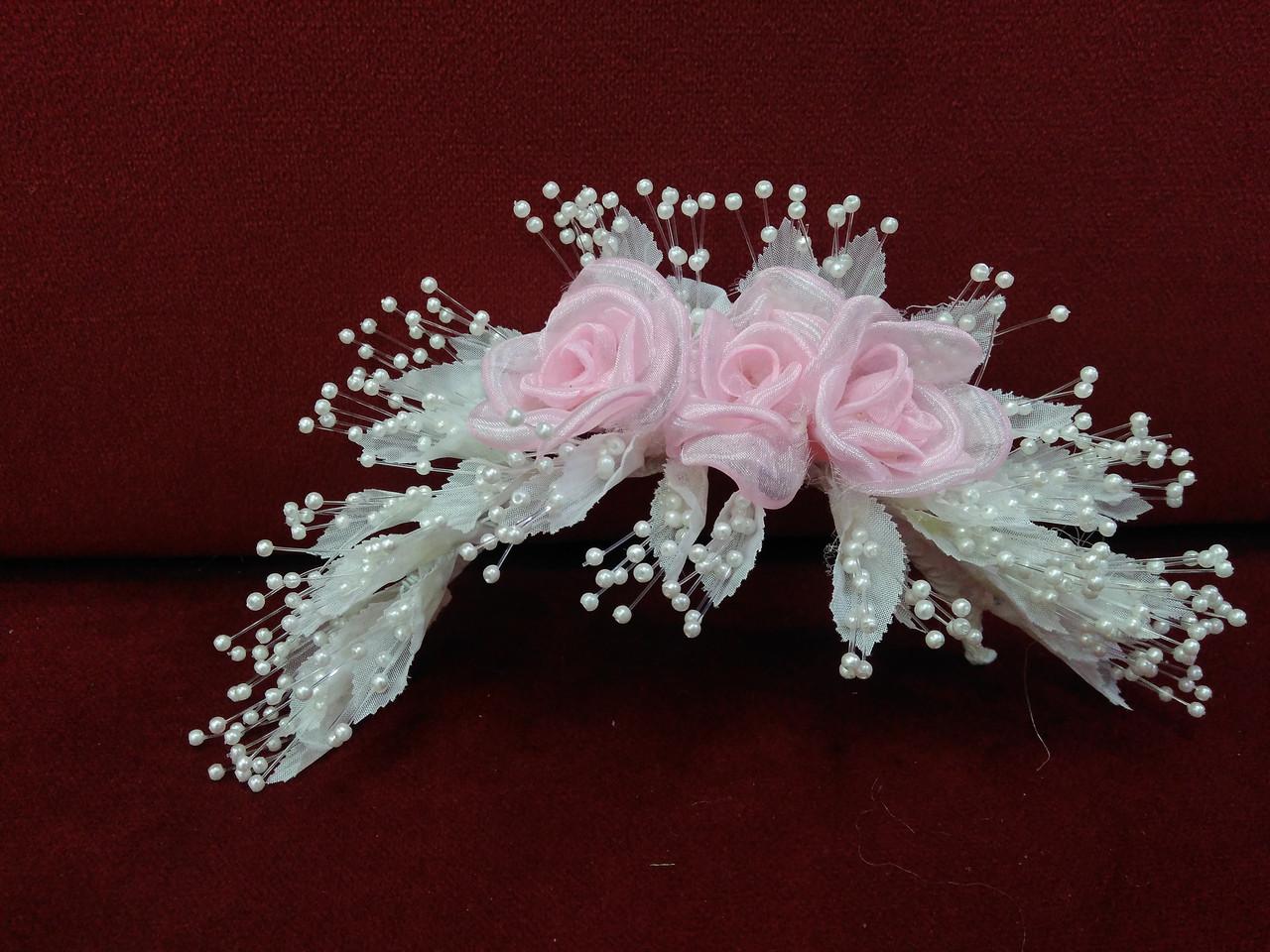 Свадебная веточка для волос белая с розовым