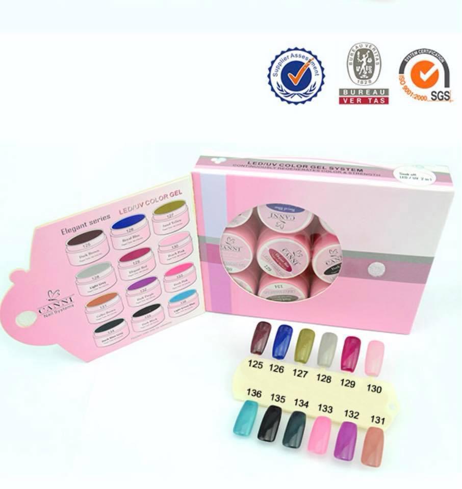 Набор цветных гелей Canni LED/UV Color Gel 125-136 перламутровые  (12 цветов)